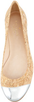 Kate Spade Terry Cork Cap-Toe Ballerina Flat, Natural/Silver