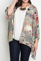 Umgee USA Plus Taupe Tassel Kimono
