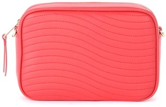 Furla Swing Bandolier Bag In Textured Strawberry Red Quilted Leather