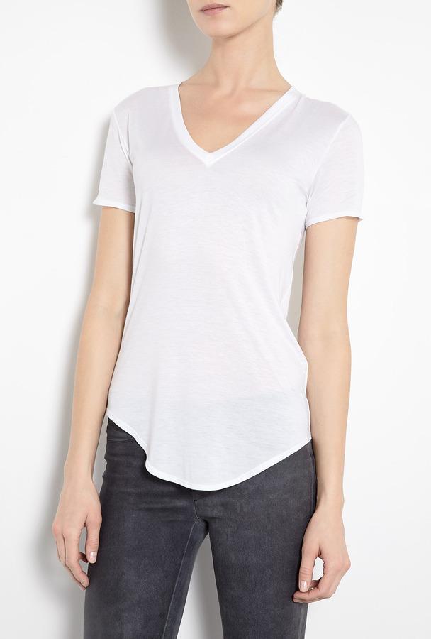 HELMUT White Kinetic Jersey V-neck T-shirt