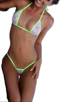 Bitsy's Bikinis White Mesh Sexy Medium Micro GString Bikini 2pc Thong w Neon Green US Made Sheer