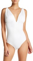 Carmen Marc Valvo Draped One-Piece Swimsuit