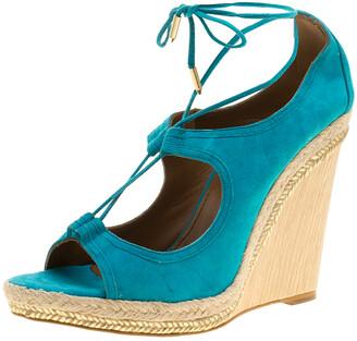 Aquazzura Turquoise Blue Suede Christie Wedge Espadrille Lace Up Open Toe Sandals Size 41