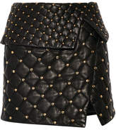 Balmain Asymmetric Studded Quilted Leather Mini Skirt - Black