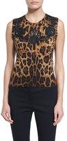 Dolce & Gabbana Lace-Inset Animal-Print Shell, Black/Natural