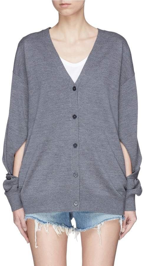 Alexander Wang Cut-out sleeve Merino wool cardigan