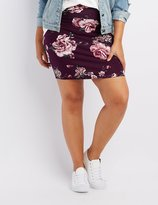 Charlotte Russe Plus Size Floral Bodycon Mini Skirt