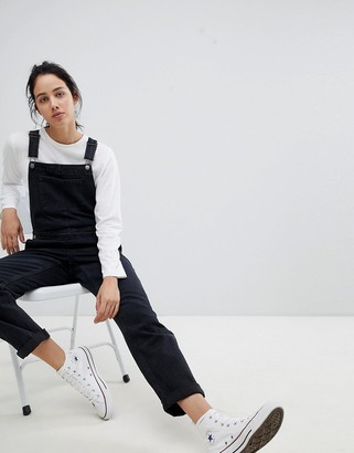 ASOS DESIGN denim dungaree in washed black