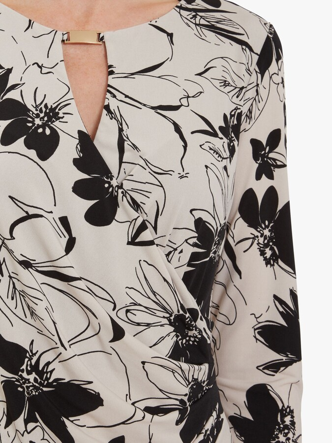 Thumbnail for your product : Gina Bacconi Cladine Floral Jersey Wrap Dress, Black/Stone