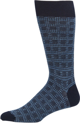 Neiman Marcus Men's Box Plaid Wool-Blend Socks