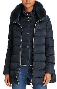 Herno Fox Fur Trim Satin Down Coat