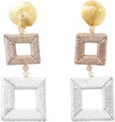 Oscar de la Renta Double Square Wrapped Earrings