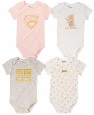 Juicy Couture Girls' 4 Pieces Pack Bodysuits Toddler Layette Set