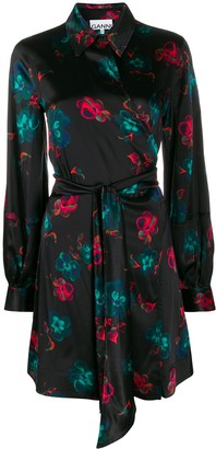 Ganni Floral Print Wrap Shirt Dress