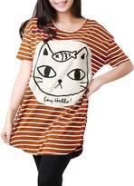 Allegra K Women Stripe Batwing Sleeve Oversize Tunic Tops T-shirts XS