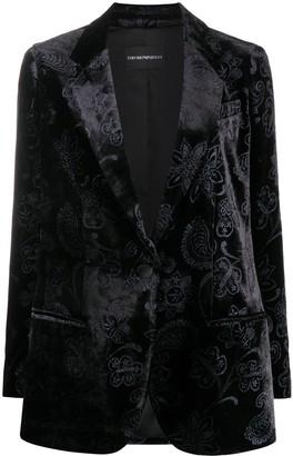 Emporio Armani Embroidered Velvet Blazer