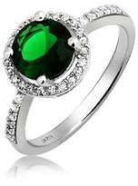 Bling Jewelry .925 Silver Round Simulated Emerald Crown Set Engagement Ring.