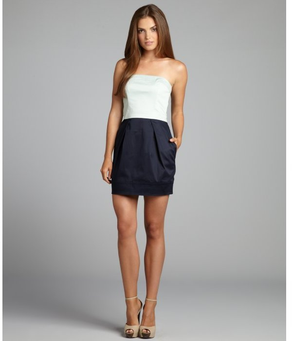 French Connection robin's egg and navy stretch poplin colorblock strapless dress