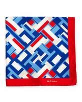 Kiton Geometric Blocks Silk Pocket Square, Red
