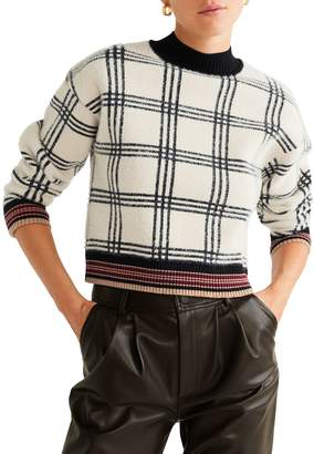 MANGO Fancy Plaid Cable-Knit Sweater