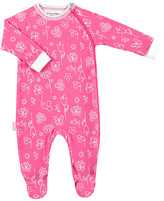 Kushies Pink Floral Side-Zip Organic Cotton Footie - Infant