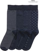 Navy Signature Mixed Design Socks Four Pack