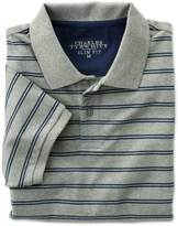 Charles Tyrwhitt Slim fit grey and blue striped pique polo