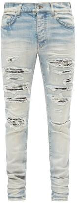 Amiri Bandana Thrash Distressed Skinny Jeans - Blue