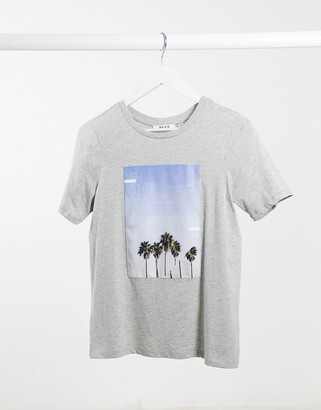 NA-KD nowhere graphic T-shirt in grey