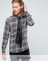 Reclaimed Vintage Check Shirt With Neck Tie In Reg Fit