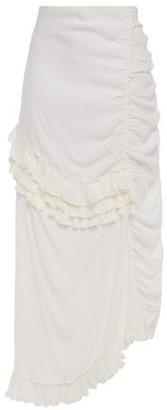Marni Ruffle-trimmed Gathered Satin-crepe Midi Skirt