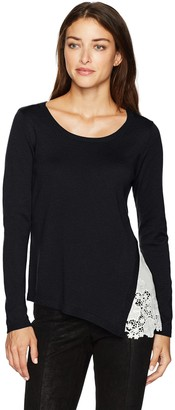 Kensie Women's Soft Sweater with Eyelet Lace Side