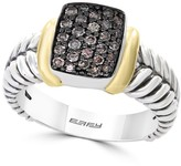 Effy Sterling Silver & 18K Yellow Gold Brown Diamond Pave Ring - 0.32 ctw - Size 7