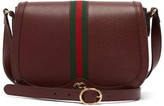 Gucci Ophidia Web Stripe Leather Shoulder Bag - Womens - Burgundy