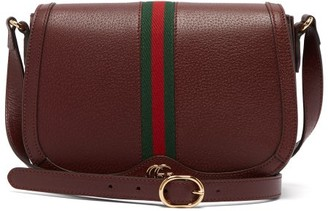 Gucci Ophidia Web Stripe Leather Shoulder Bag - Burgundy