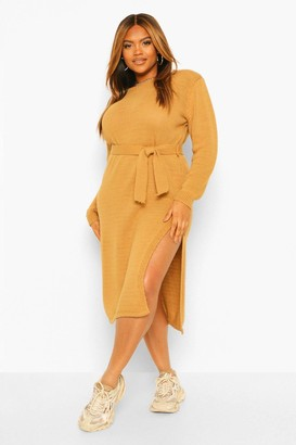 boohoo Plus Shoulder Pad Knitted Sweater Dress
