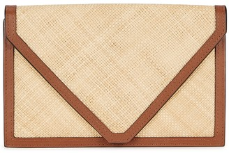 Hunting Season The Envelope Leather And Raffia Clutch