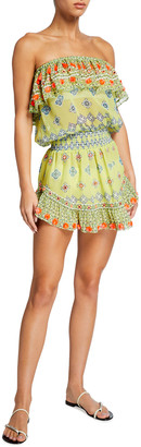 Ramy Brook Mira Tassel-Trim Printed Mini Dress