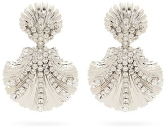 Alessandra Rich Shell Crystal-embellished Clip Earrings - Crystal