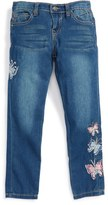 Vigoss Girl's Butterflies Are Free Embroidered Skinny Jeans
