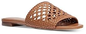 MICHAEL Michael Kors Women's Augustine Woven Leather Slide Sandals