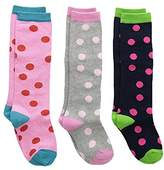 Country Kids Little Girls' Fun Dotty Knee Hi Socks, Pack of 3, Fits 4-7 years (shoe size 9-1.5)