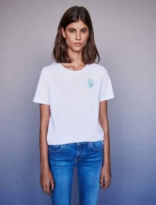 Maje Capricorn rhinestone embroidered t-shirt