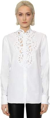 Ermanno Scervino Long Sleeve Cotton Poplin & Lace Shirt