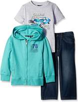 Calvin Klein Little Boys' 3 Piece Pant Set Hooded Sweatshirt with Tee and Jean