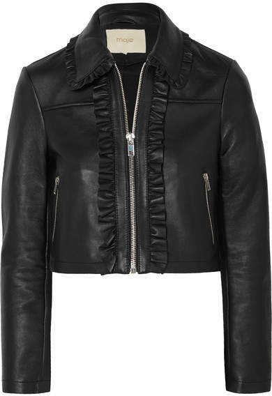 Maje Cropped Ruffled Leather Biker Jacket - Black