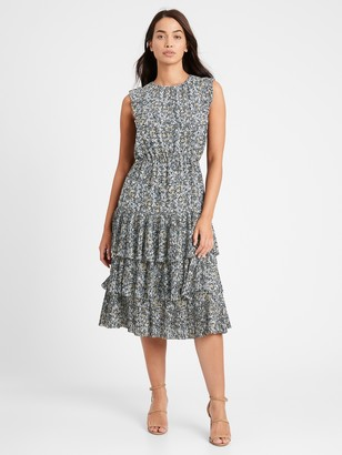 Banana Republic Petite Pleated Midi Dress