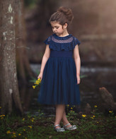 Scully Trish Child Girls' Special Occasion Dresses NAVY - Navy Swiss Dot Mesh-Overlay Giovanna A-Line Dress - Infant