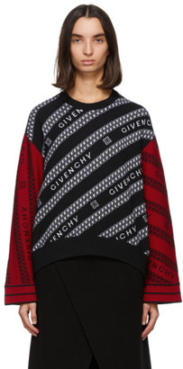 Givenchy Black and Red Wool Chain Sweater