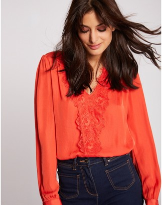 Morgan Balloon Sleeve Blouse with Lace Detail and V-Neck